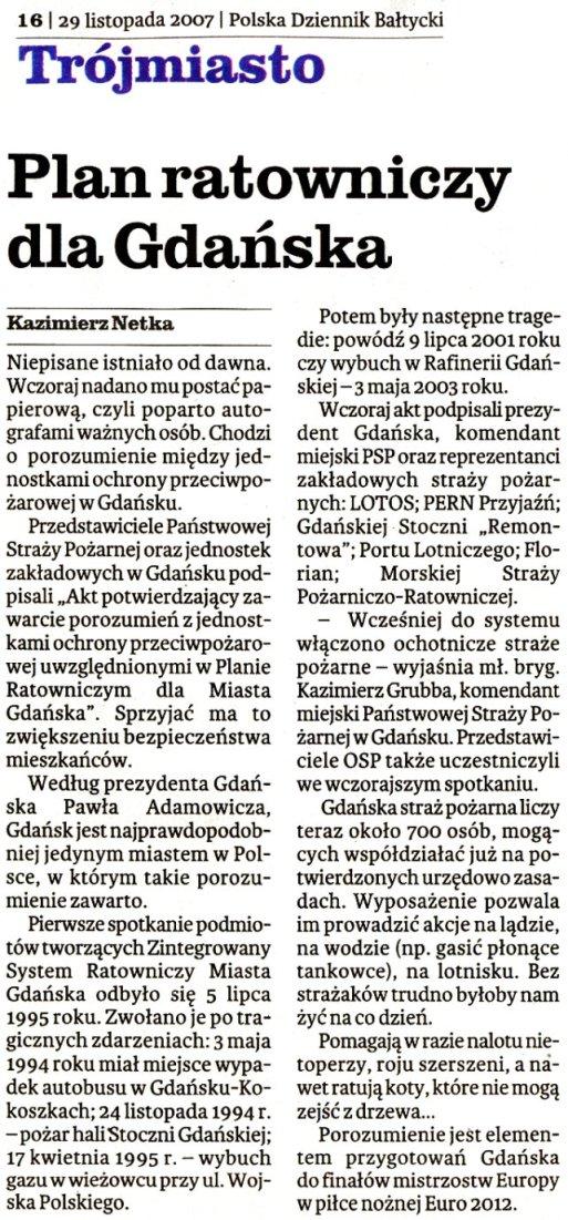 Dziennik Bałtycki 29.11.2007