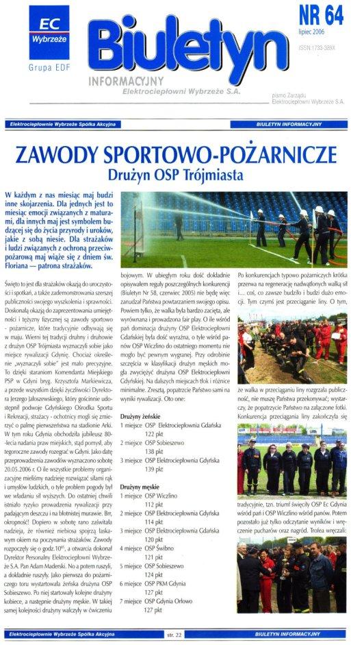 Biuletyn Informacyjny Elektrociepłowni Wybrzeże SA - 07.2006